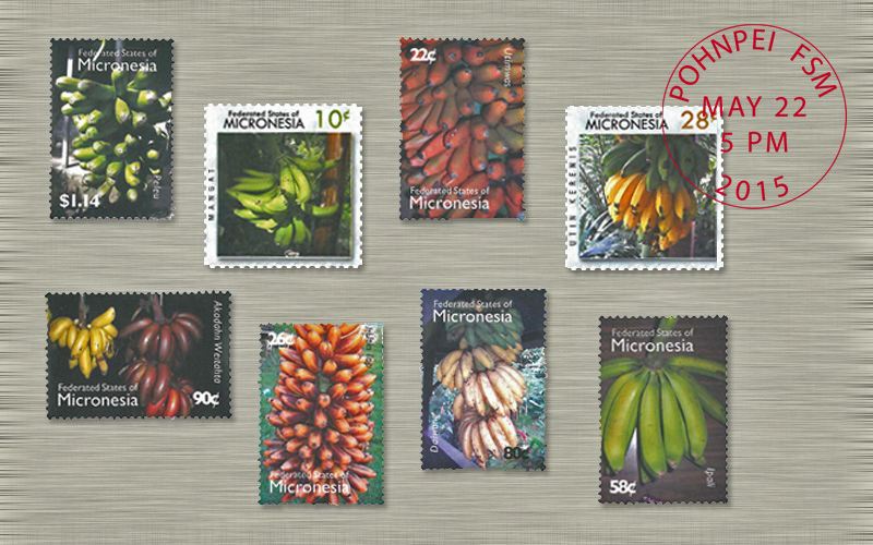 The Federated States of Micronesia postal service has issued two series of commemorative stamps featuring carotenoid-rich bananas.