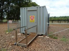 Footwear change facilities to ensure that only dedicated footwear are used on-farm. (Photo by J. Daniells, Queensland DAF)