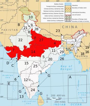 States (in red) where TR4 has been observed: 4-Bihar; 27-Uttar Pradesh; 14-Madhya Pradesh and 7-Gujarat.